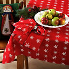 Snowflakes Tablecloth Red White Christmas Pattern Cotton Fabric