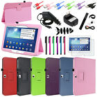 PU Folio Leather Cover Case +Film/Wrap/Cable For Samsung Galaxy Tab 3 10.1 P5200