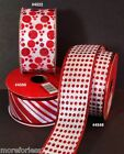 """Ribbon Wired Edge CHOOSE Red And White Sparkle 24 Feet 1 1/2"""" Wide 8 Yard  New"""