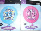 "AGE 13 13TH TEENAGER HAPPY BIRTHDAY PARTY FOIL 18"" HELIUM BALLOON GIRL or BOY"