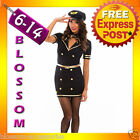 I40 Ladies Black Air Stewardess Pilot Flight Attendant Fancy Dress Party Costume