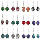 lady jewelry gift oval Multi-colored Mosaic Jasper fashion dangle drop earrings