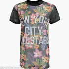 Womens Ladies New York Ny T-Shirt Tropical Floral Varsity Fishnet Mess Baggy Top