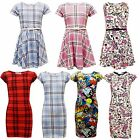 KIDS GIRLS TARTAN AZTEC FLORAL BODYCON MIDI & SKATER DRESS 7 8 9 10 11 12 13 Yr