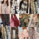 Ladies Chiffon Cat Leopard Star Dot Heart Bow Monroe Head Shawl Scarf Long Stole