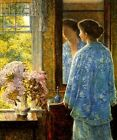 MORNING LADY WINDOW FLOWERS OLD LYME CONNECTICUT PAINTING BY CHILDE HASSAM REPRO