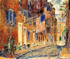 ACORN STREET BOSTON MASSACHUSETTS JULY 1919 PAINTING BY CHILDE HASSAM REPRO
