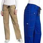 Womens Multi Pocket Sporty STRETCH Low Rise Medical Nursing Scrub Pants 20COLORS