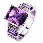 Party's Emerald Cut Amethyst & White Topaz Gemstones Silver Ring Size 7 8 9 10