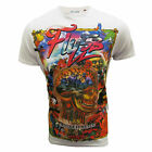 FLY53 T SHIRT LEARY MENS WHITE GRAPHIC PRINT TOP UK S - XXL