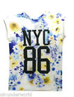LADIES NEW YORK NYC 86 FLORAL FLOWER VARSITY ROLL UP SHORT SLEEVE T-SHIRT TOP