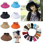 Womens Straw Wide Brim Summer Beach Sun Hat Visor Headless Cap Foldable Colors
