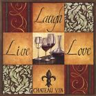 LIVE LAUGH LOVE WINE GLASS FABRIC RUBBER BACK COASTERS SETS U PICK SET SIZE