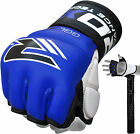 Auth RDX Leather Gel Tech MMA 7oz Grappling Gloves Fight Boxing UFC Punch Bag A
