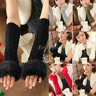 Ladies Winter Warm Knitted Faux Rabbit Fur Fingerless Gloves Wrist Hand Warmer