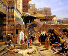 MARKET IN JAFFA 1887 MIDDLE EAST ORIENTALIST PAINT BY GUSTAV BAUERNFEIND REPRO