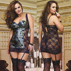 Plus Size Lingerie One Size 1X/2X or 3X/4X Metallic Garter Chemise  DG9075X