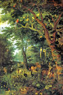 PARADISE 1620 ANIMALS AT PEACE IN FOREST PAINTING BY JAN BRUEGHEL YOUNGER REPRO