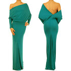 JADE GREEN MULTI WAY Reversible PLUNGING Convertible MAXI DRESS Off Shoulder