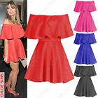 NEW LADIES OFF SHOULDER FRILL TOP DRESSES WOMENS CELEB BARDOT SKATER SKIRT DRESS