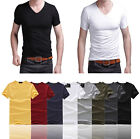 Fashion T-Shirt Sexy Mens V-Neck Tee Short Sleeve Slim Fit Solid Size M L XL XXL