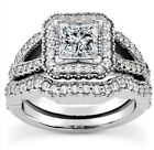 1Ct Princess Cut Halo Diamond Engagement Ring 14K White Gold Vintage Antique
