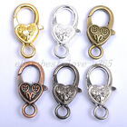 Gold Silver Plated Bronze Copper & Floral &Charms Heart Lobster Clasps 25X14MM