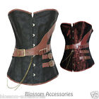 CC57 Steampunk Brocade Boned Corset Brown Retro Leather Gothic Halloween Top