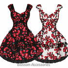 RKH48 Hearts & Roses Rose Rockabilly Dress Pin Up Vintage 50s Party Prom Swing