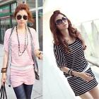 New Style Womens Korean Stripes Short Sleeve Loose Casual Summer Dress Free Size