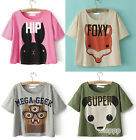 Women Girls Casual Loose round neck Cartoon Cute Short Sleeve TShirt Short Tops