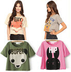 Summer women new round neck Cartoon Cute Short Sleeve Loose T-Shirt Short Tops