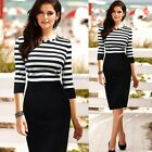 Sexy Lady Stripe Color block Tunic Cocktail Sheath Evening Party Dress Bodycon