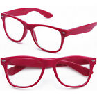 Clear Lens Fashion Glasses Wayfarer RX Possible Berry Dark Pink Neon KY8032-CN2