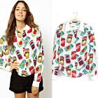 Casual Blouses Shirt Sunshine Girl  Cartoon Coke Juice Can Print Long Sleeve