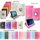 New Sparkly Glittery Diamond PU Leather Flip Case Cover Fits For Various Tablets