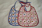 Benjy Baby Bibs Red or Blue One Size 100% Cotton with Teddy Bear Designs