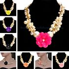 Fashion Gold White Pearl Chain Multi-Color Resin Flower Statement Bib Necklace