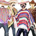 Mexican Poncho + Sombrero Hat + Tash Mens Fancy Dress Western Adult Costume New
