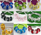 MIX Silver Crystal Glass Cute Core Beads Fit European Charms Bracelet Jf459