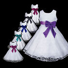 AuG White Burgundy w999 X'mas Bridesmaid Wedding Party Flower Girls Dress 2-12y