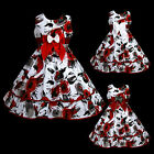 w883 k2 UkG Red Grey White Bow X'mas Halloween Party Flower Girls Dress 2,3-12y
