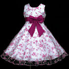 140818w456 UkW Hotpink Fuchsia Bow Summer Holiday Party Flower Girls Dress 2-12y