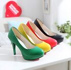 New Vogue Women Lady's Faux Leather High Heel Shoes Candy Platform Stilettos