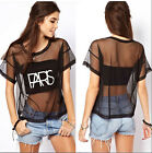 Sexy Women Summer Loose Crop Short Sleeve Crewneck T-Shirt See-through Tops