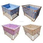 FoxHunter Baby Playpen Play Pen Cot Bed Wooden Height Adjustable Cushion 4 Side