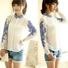 Women Porcelain Print  Lady Long Sleeves Vitage Shirt Blouse White Chiffon Tops