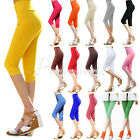2014 Women High Waist Stretch Cropped Capri Leggings Pants Tights Candy Color