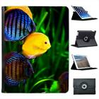 Yellow & Blue Coral Fish in Sea Folio Wallet Leather Case For iPad 2, 3 & 4