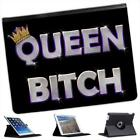 Queen Bitch Funny Gift Folio Wallet Leather Case For iPad 2, 3 & 4